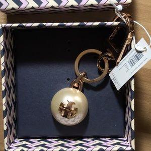 Gold White Large Pearl Logo Key Holder Bag Charm